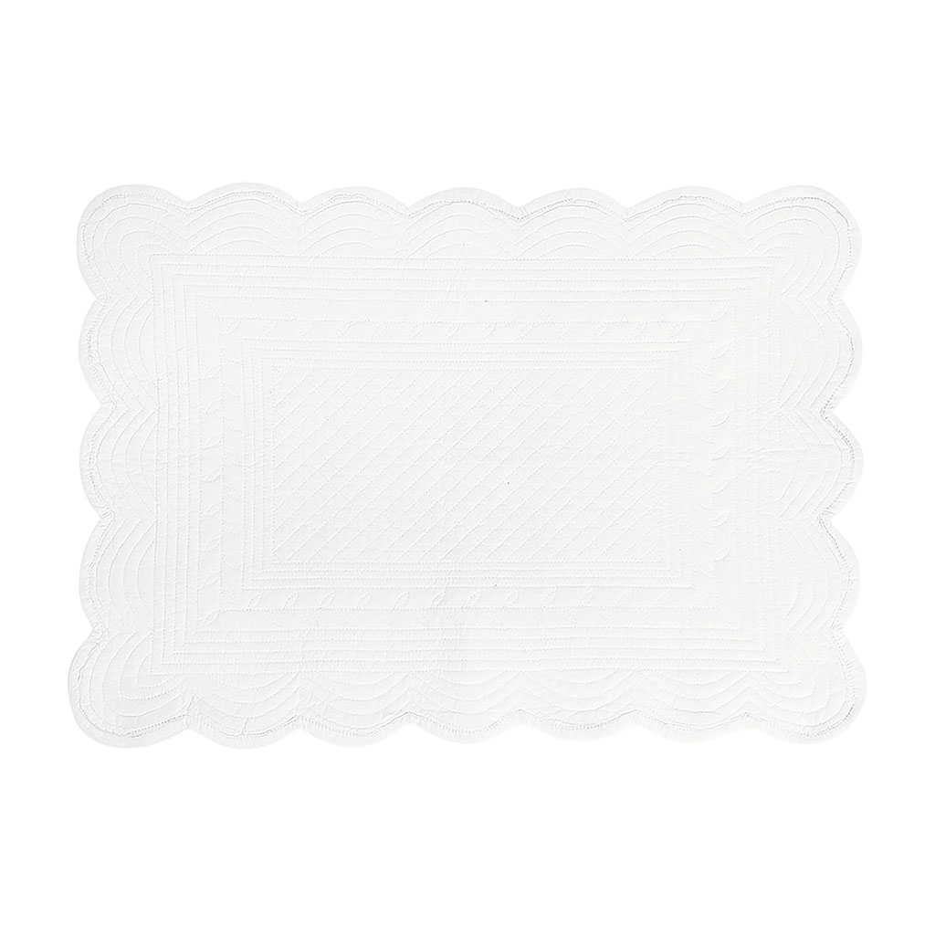 img-Set de table rectangulaire blanc en coton