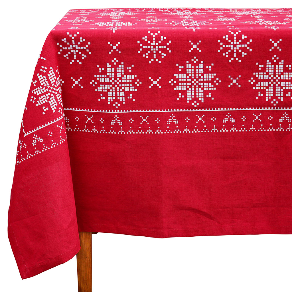 img-Nappe rectangle rouge en coton et lin