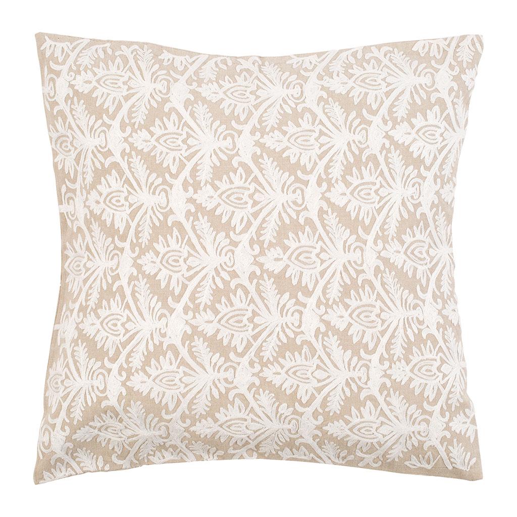 Audacieux Comptoir de Famille - Coussin brodé solene Beige en Coton, Polyester II-12