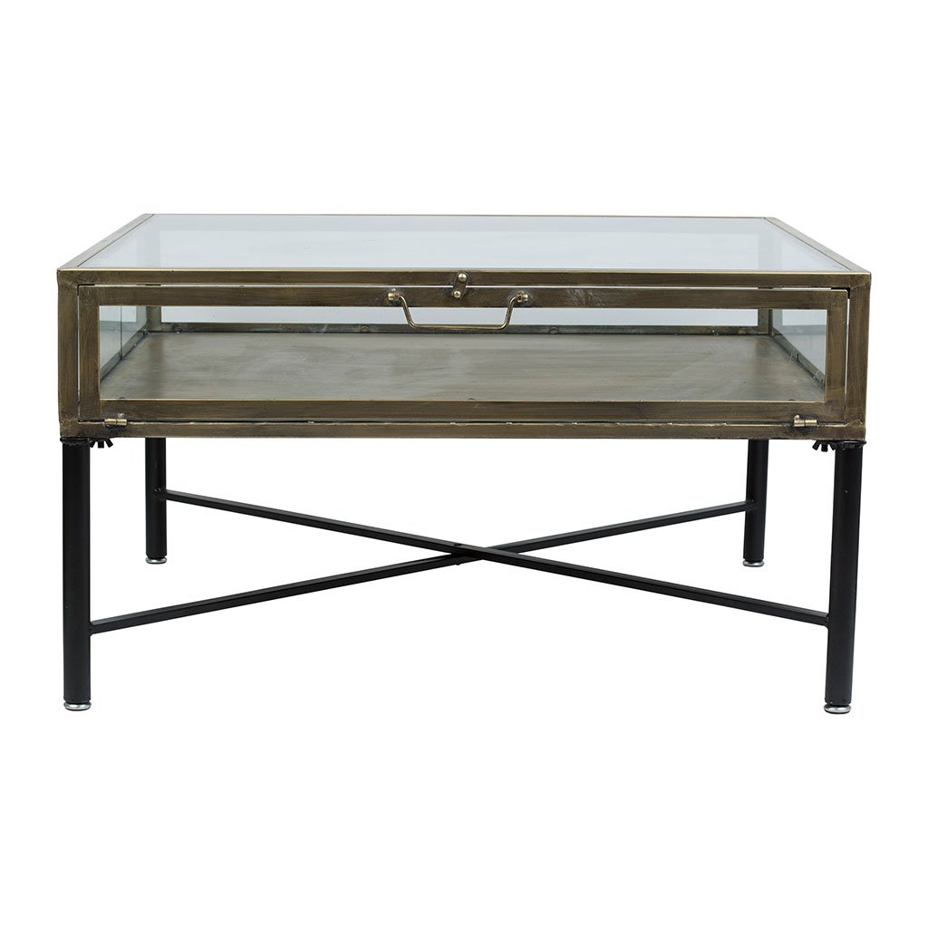 Cote Table Table Basse Tahra Noir Dore En Fer Verre
