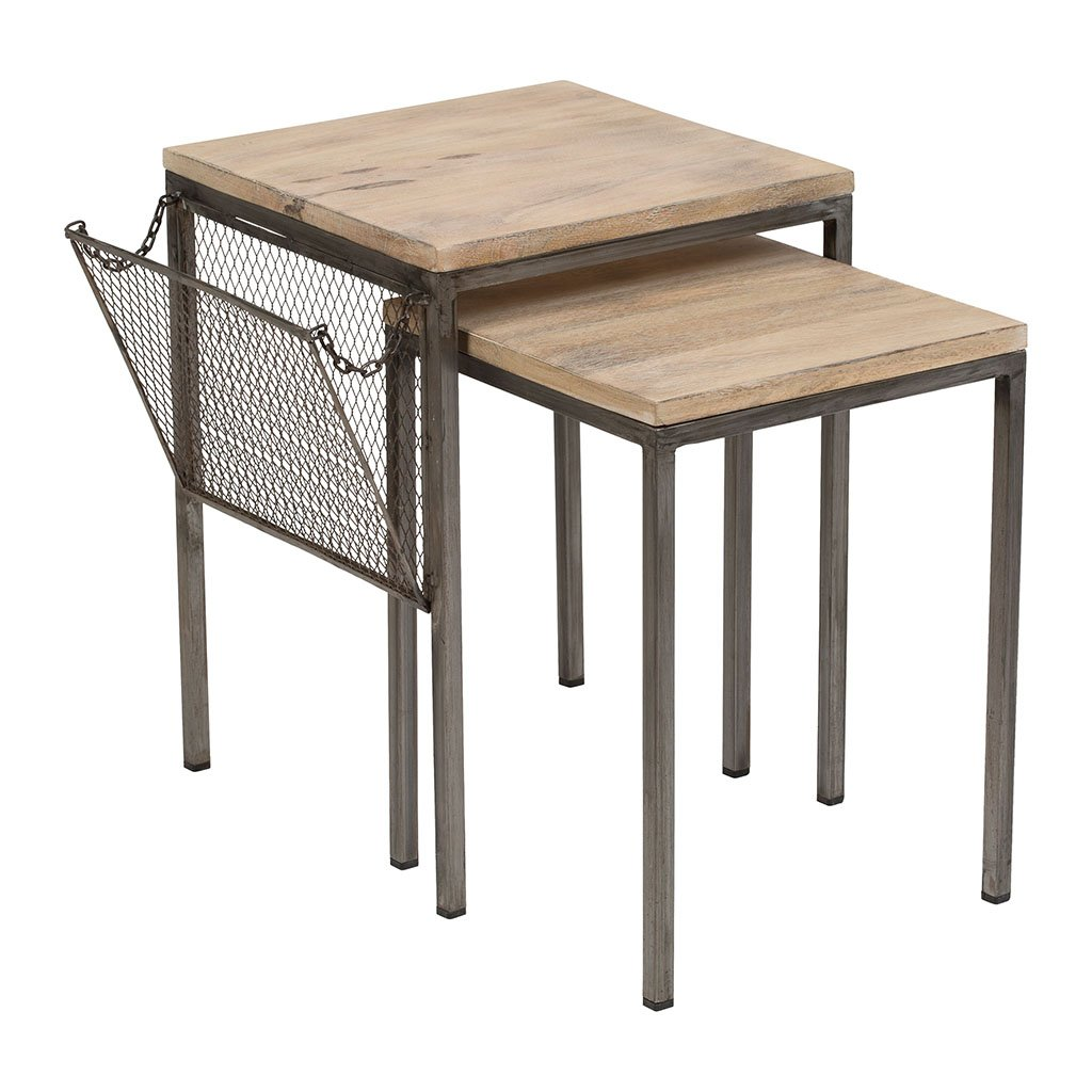Jardin D Ulysse Table Gigogne X2 Gresille Naturel En Fer Manguier