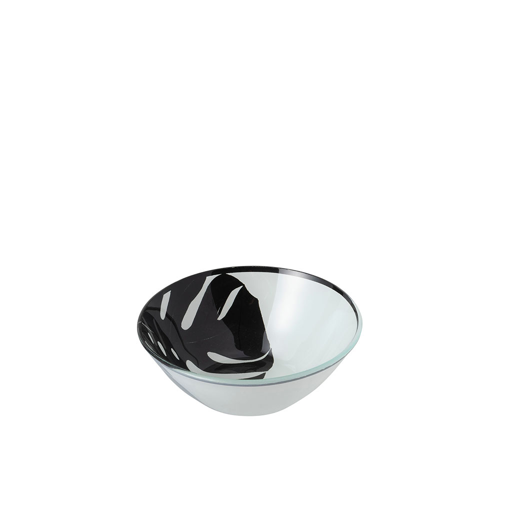 img-Bol feuilles rond verre noir/blanc small 2.6l