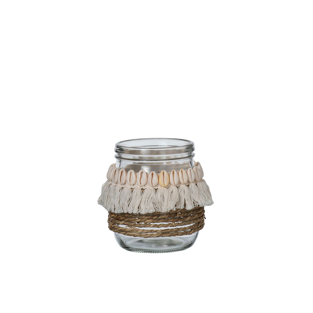 img-Photophore coquillage/jute/floche verre large