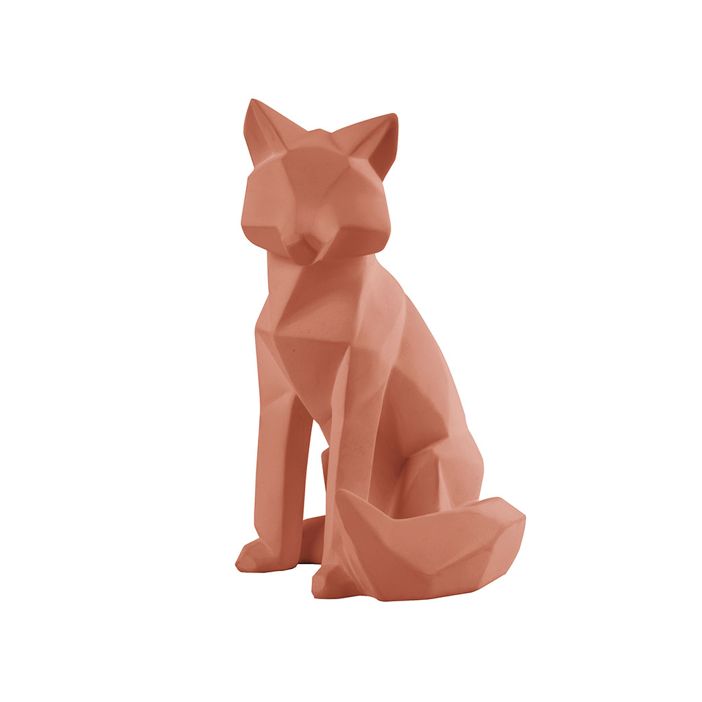 img-Statue origami fox polyrésine large mat marron