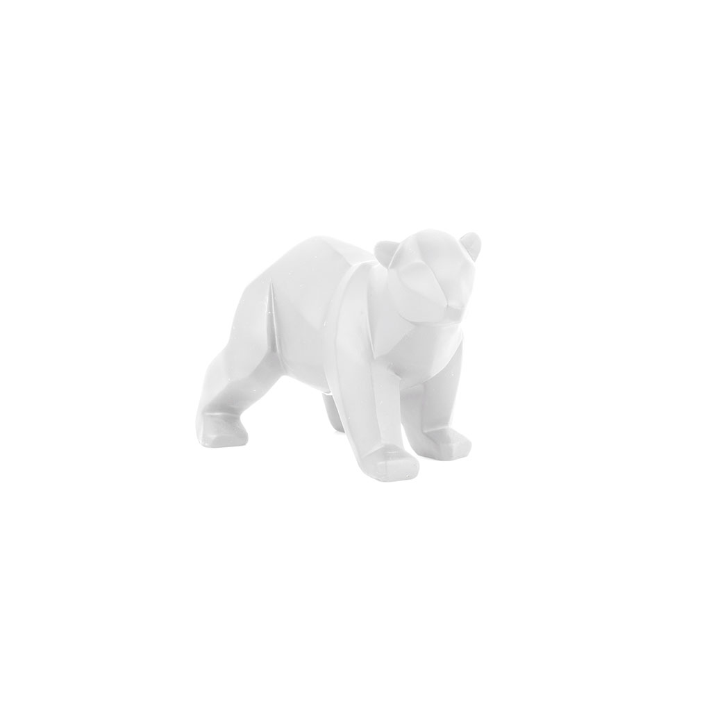 img-Statue origami ours small mat blanc
