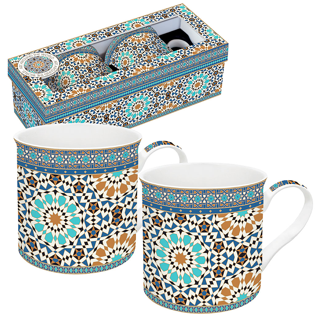 img-Coffret 2 mugs 30cl en porcelaine fine multicolor