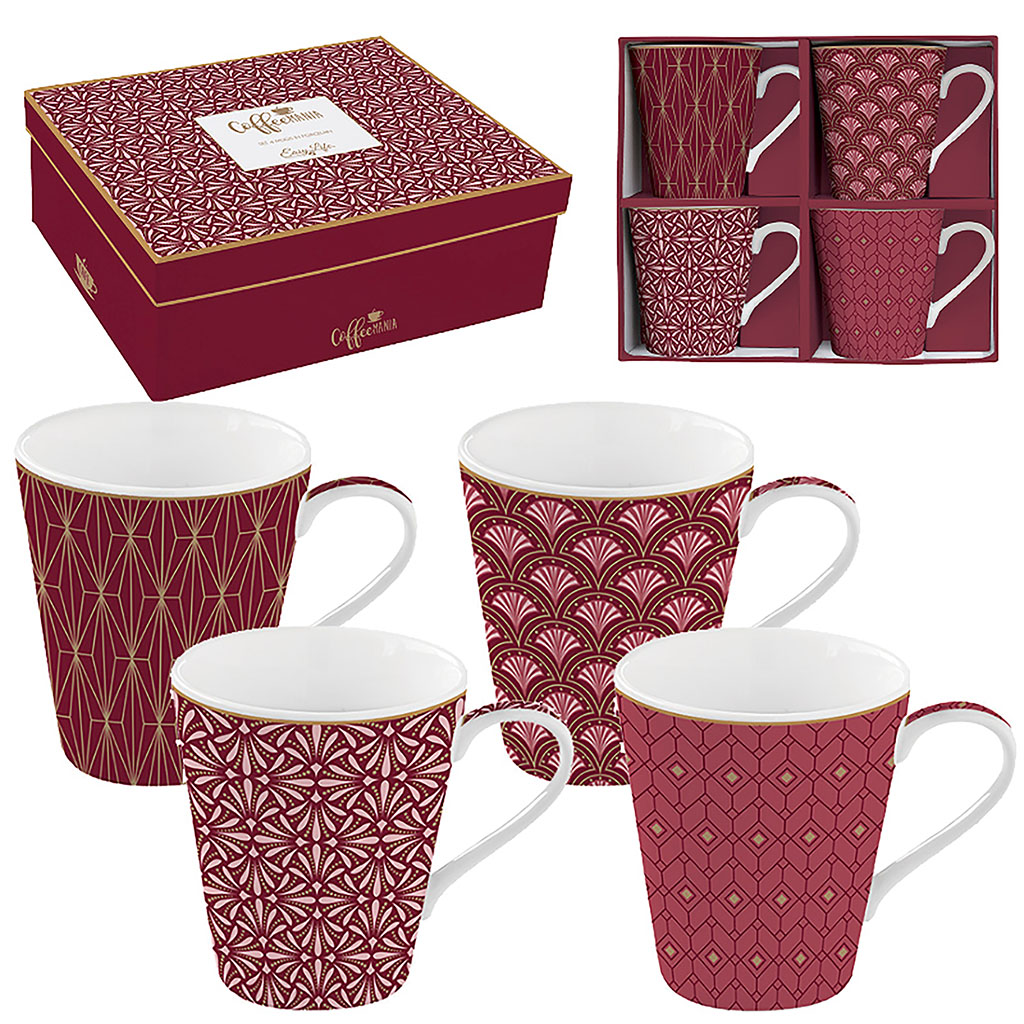 img-Coffret 4 mugs 30cl en porcelaine fine bordeaux