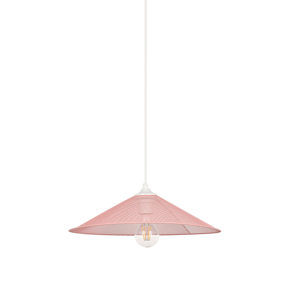 img-Suspension forme conique d36 en métal rose pastel