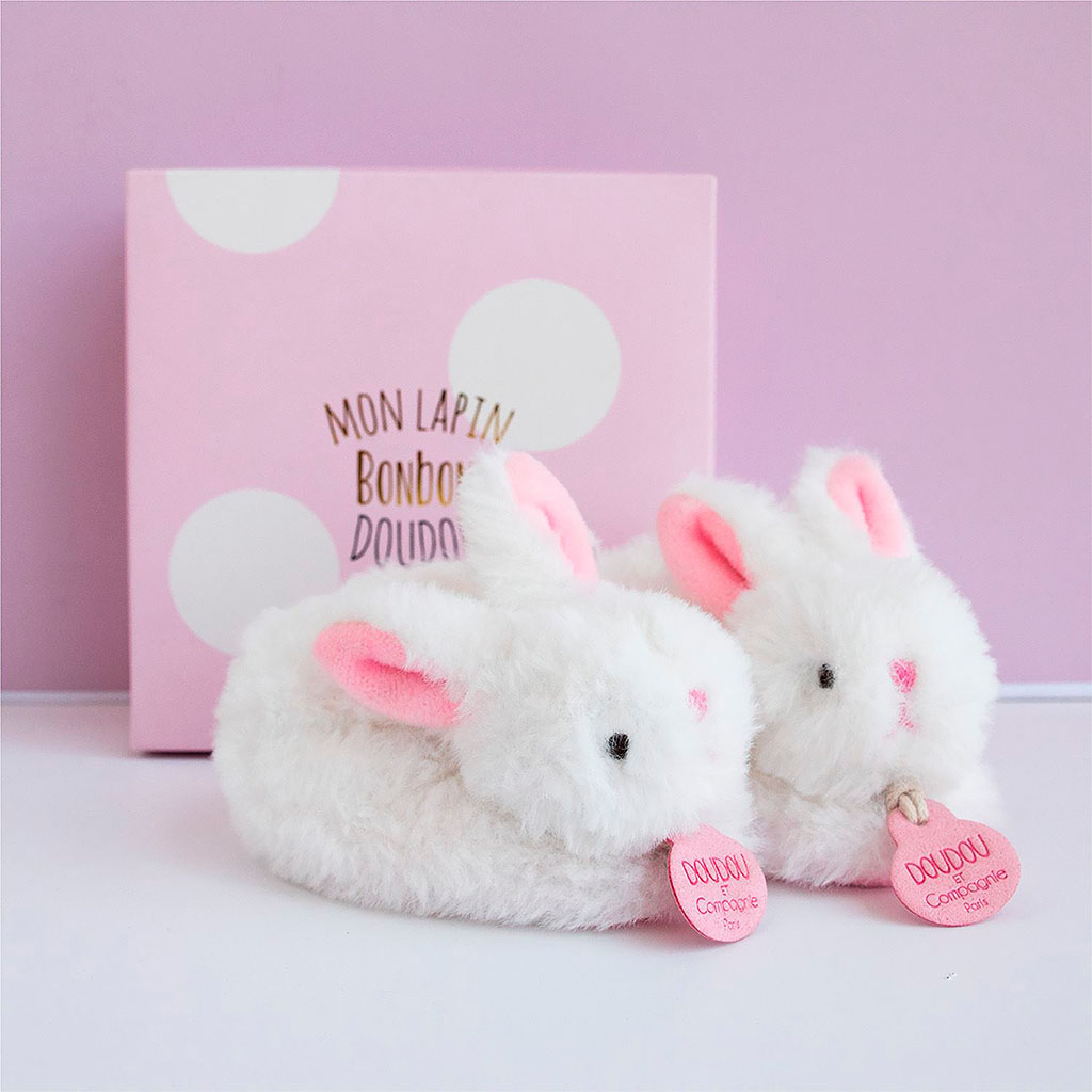 img-Coffret chaussons avec hochet 0-6 mois -lapin rose