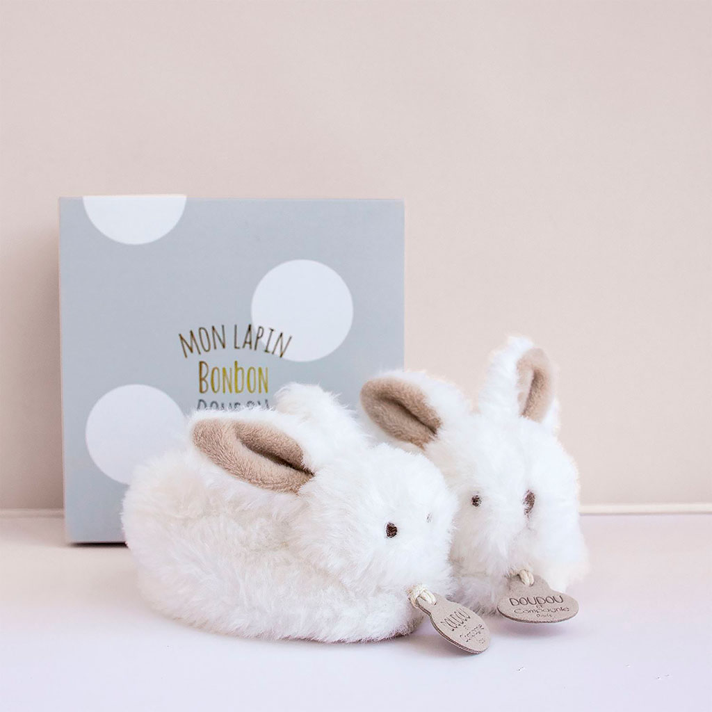 img-Coffret chaussons avec hochet taupe 0-6 mois-lapin