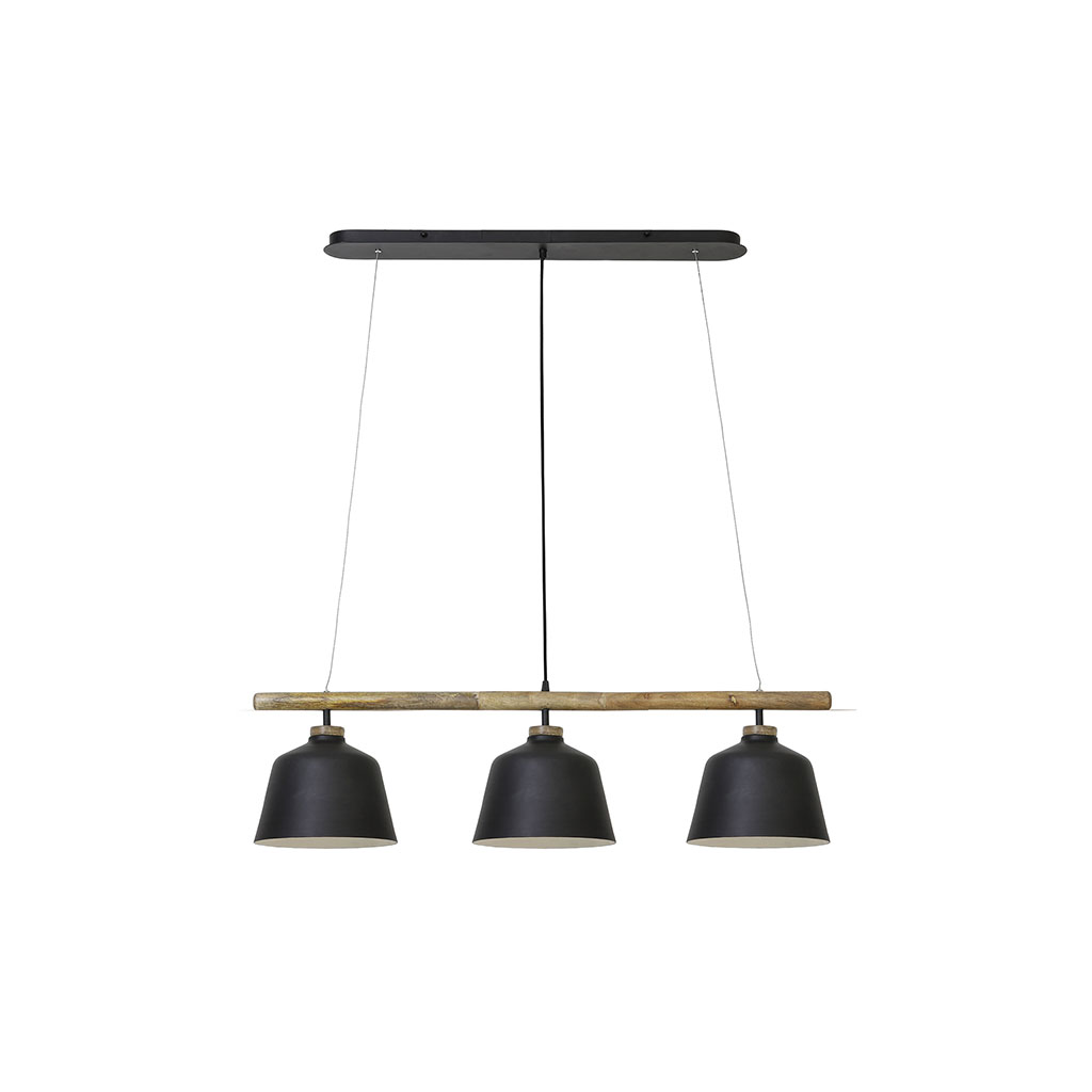 img-Suspension 3 lumieres banu bois metal 102x25x30cm noir