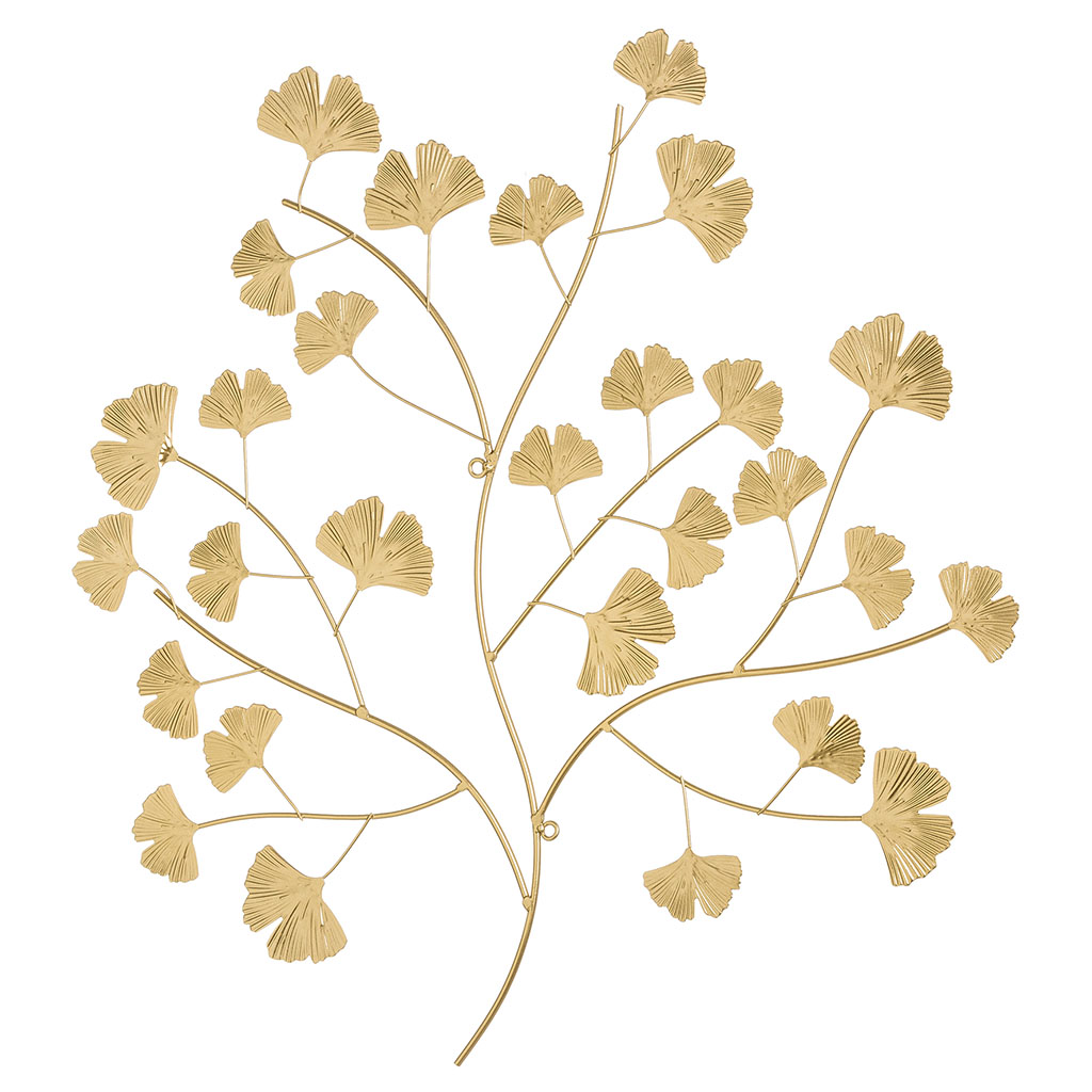 img-Decoration murale feuille de ginkgo metal dore 53x56cm
