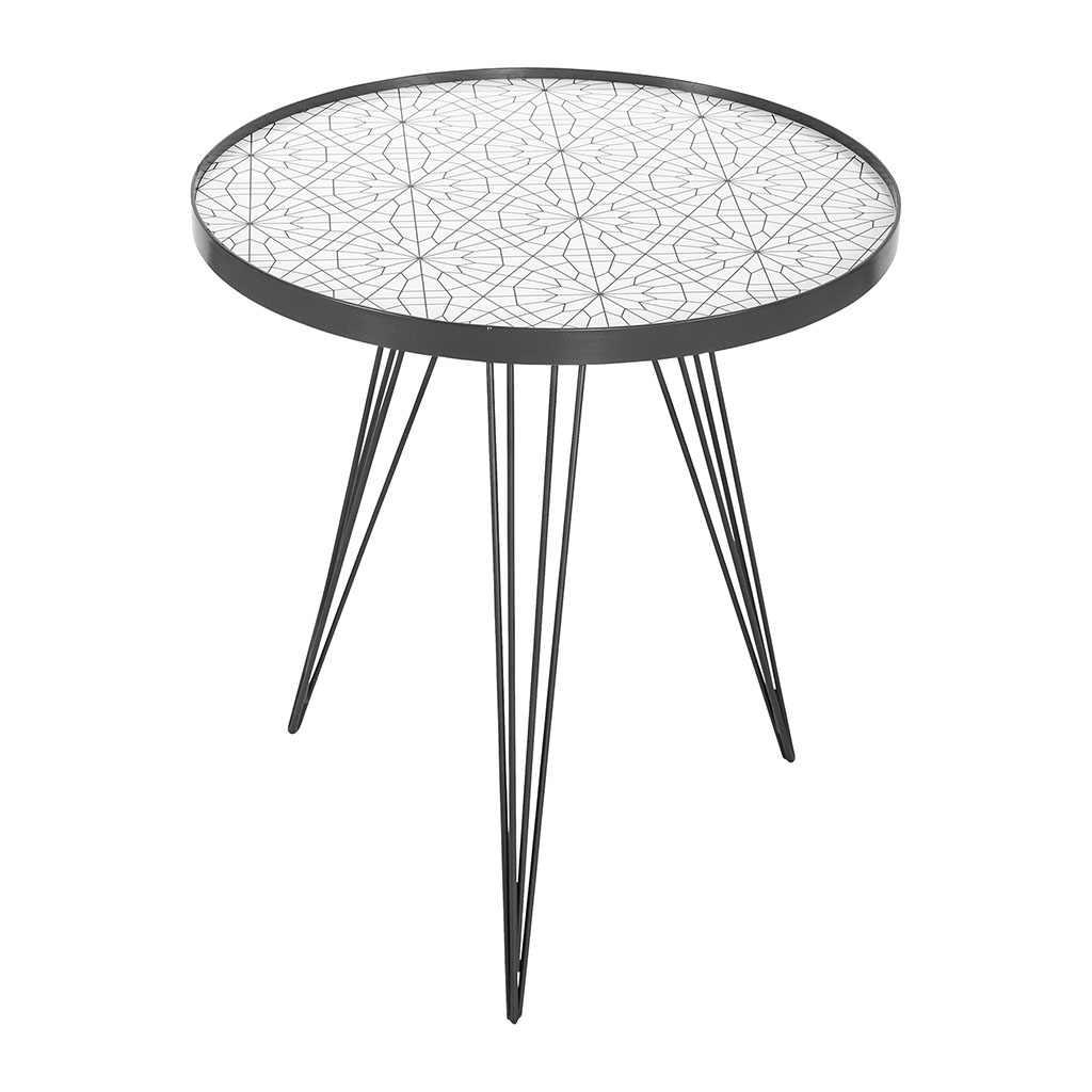 Table Basse Ronde Blanche Pieds Metal