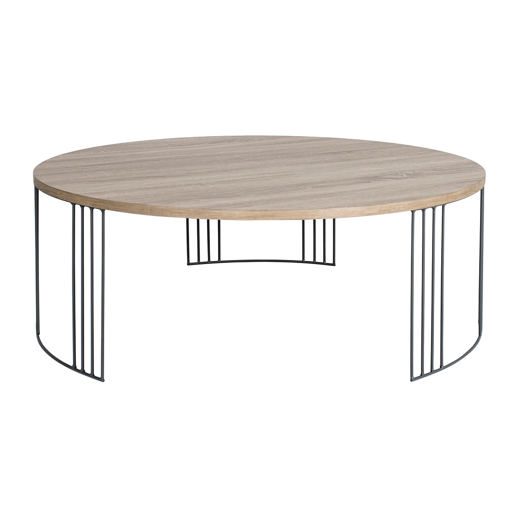 img-Table basse ronde couleur chene pieds metal