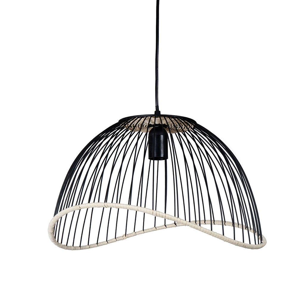 img-Suspension filen noir en fer et rotin