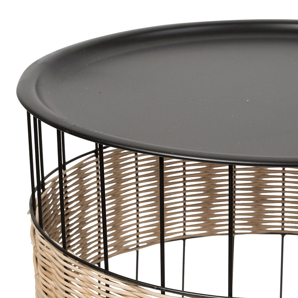 Cache Pied De Sapin Rotin sema design - set 2 tables gigognes naturel, noir en fer et