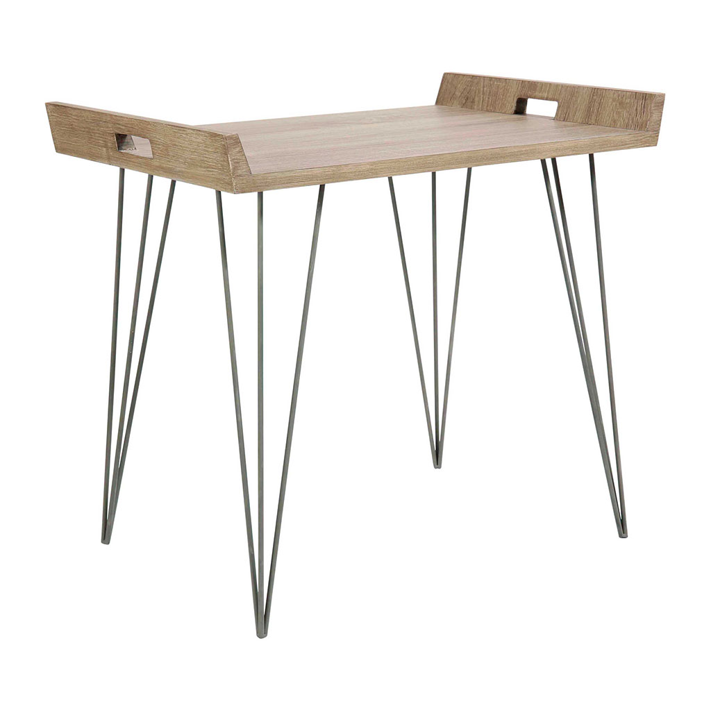 Sixties Pieds Basse Couleur En Bois Metal Table Chene HDWEI29