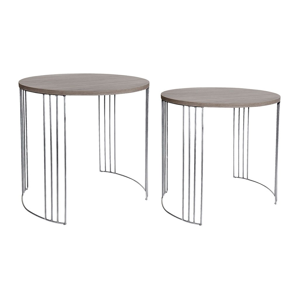 img-2 tables gigognes rondes couleur chene pieds metal