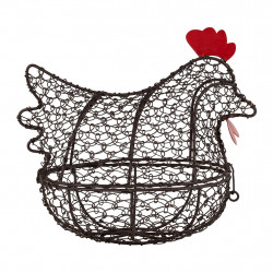 img-Corbeille poule carreau ciment naturel 22x13xh20cm fer