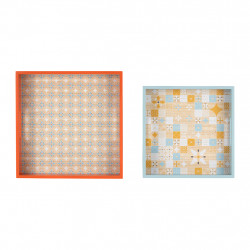 img-Plateau x2 carreaux ciment multicolore 28x28,24x24cm mdf