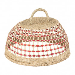 img-Cloche damier naturel et rouge