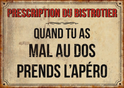 "img-Plaque ""prescription du bistrotier-mal au dos"" 21x15cm"