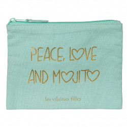 img-Trousse a maquillage peace love mojito bleu et dore