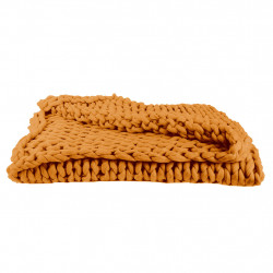 img-Plaid grosse maille chunky jaune 120x150cm