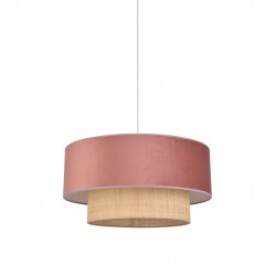 img-Suspension boheme en raphia et velours rose d58cm