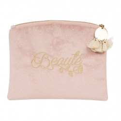 img-Pochette beaute palabras rose 23x18cm polyester