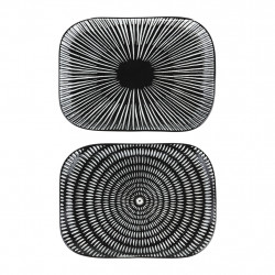 img-Plat rectangle x2 cosmos noir,blanc 14x10cm porcelaine