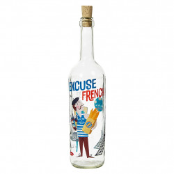 img-Bouteille excuse my frenc multicolore 75cl-d7xh32cm verre