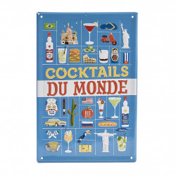 img-Plaque cocktails monde plaq-retro multicolor 20x30cm metal